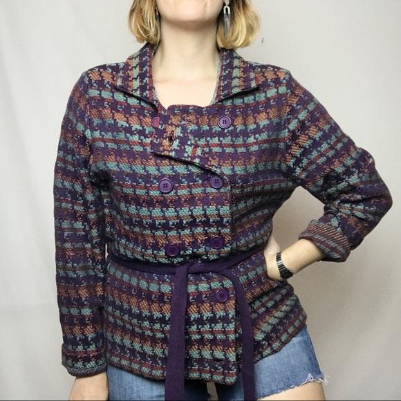 Anthropologie Sweaters - Anthro Shu Shu Purple Button Front Sweater XXL